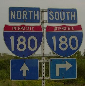 Sign assembly on sb il st rt 26 at i 180 near bureau junction for Bureau junction il