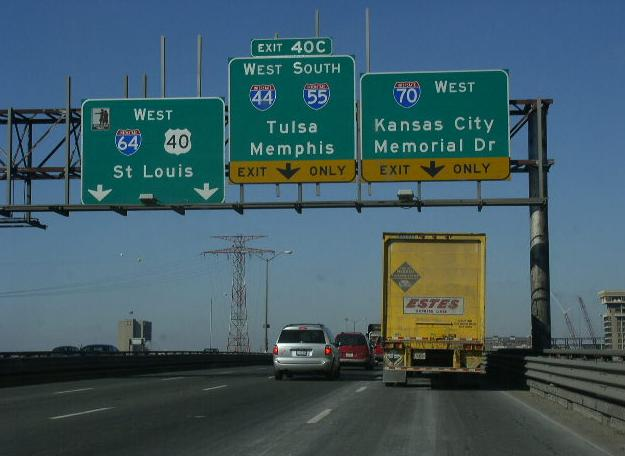 Interstate 55 missouri sb i 55 wb i 6470 us rt 40 near their split in downtown st louis publicscrutiny Images